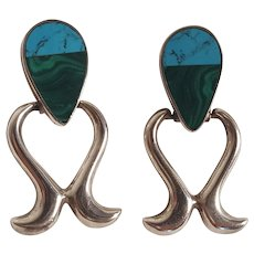 Taxco sterling silver earrings stone inlay malachite blue stone