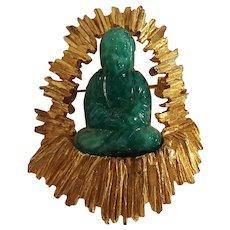 Hobe molded green glass Asian priest or god pin