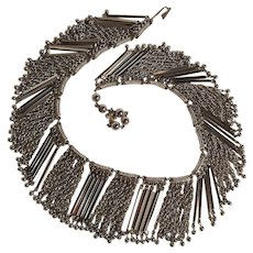VenDome metal fringe necklace silver tone chain and balls