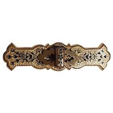 Victorian gold filled taille d'epargne black enamel pin