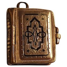 Victorian photo album locket charm for multiple miniature portraits gold filled enamel