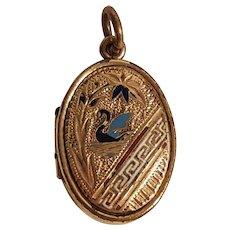 Victorian reversible locket enamel swan gold filled