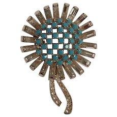 Schoffel Austria flower pin rhinestone baguettes turquoise glass stones