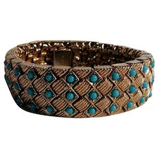Ciner chunky simulated turquoise bracelet heavily embossed