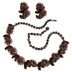 Schoffel Austria rhinestone necklace clip earrings flowers