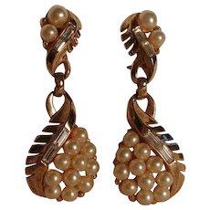Trifari rhinestone simulated pearl drop earrings clip