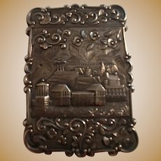 Sterling silver castle top calling card case scenic buildings