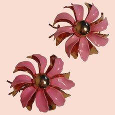 Vintage pink enamel flower power barrettes new old stock