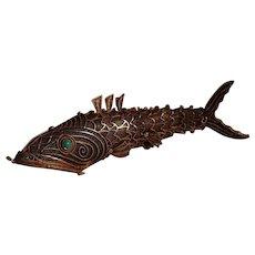 Silver Koi fish vinaigrette pendant filigree Chinese export