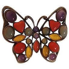 Trifari butterfly pin poured acrylic jelly stones multi color