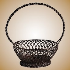 Tiffany &Company sterling silver woven wire handled basket