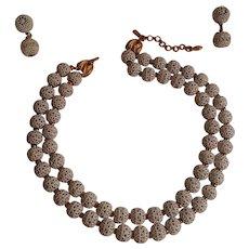 Monet white enamel filigree bead necklace drop earrings two strand