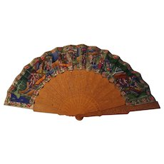 Antique Chinese applied faces fan carved wood