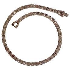 Mazer Bros square emerald cut rhinestone rhodium plated choker necklace