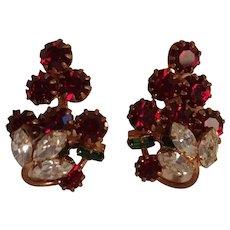 Austria rhinestone clip earrings red berry strawberry