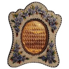 Antique micromosaic easel picture frame floral scalloped edges