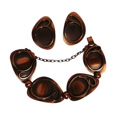 Mid Century Modern copper bracelet clip earrings set