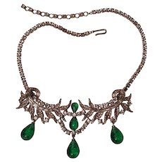 Rare Ciner flawed emerald glass drop necklace rhodium and rhinestone