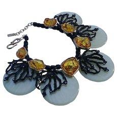 Yves Saint Laurent Goosens bib necklace coral amber nugget mop disk YSL Rive Gauche