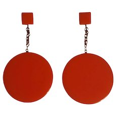 Richelieu Mod clip earrings orange lucite drops