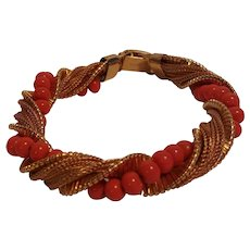 Napier bracelet mesh chain and simulated coral bead twist