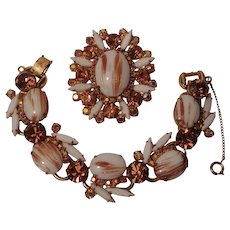 Juliana bracelet brooch pendant set gold fluss glass cabochons