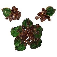 Maison Gripoix France blown glass brooch earrings set violets