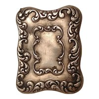 Sterling silver repousse pocket postage  stamp box