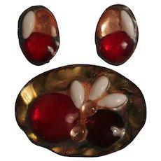 Beryl Sheldon enamel fused glass copper pin earrings Mid Century