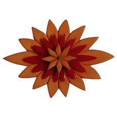 Bakelite flower pin layered red butterscotch petals