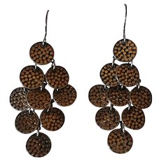 Anna Beck sterling silver dotted chandelier earrings disk drops