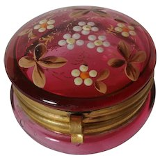 Cranberry glass rouge pot dresser jar painted enamel flowers
