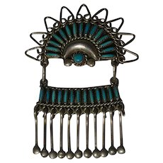 Zuni sterling silver needle point turquoise pin pendant  dangles