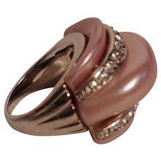 Kenneth Lane KJL domed ring pink resin rhinestone