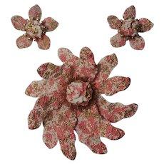 Coro enamel  flower pin clip earrings set pink gold spatter on white