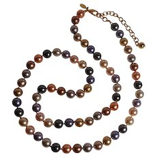 Joan Rivers simulated pearls bead necklace multi color