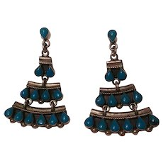 Taxco sterling silver turquoise chandelier earrings pierced posts