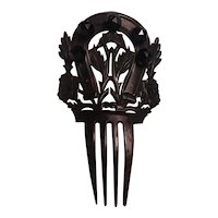 Celluloid horse shoe roses hair comb simulated jet beads