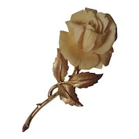 Boucher carved rose pin 7944P brushed gold leaves