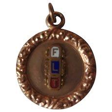 Masonic Odd Fellows FLT enamel reversible watch fob charm pendant