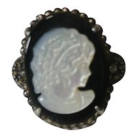 Sterling silver cameo ring mother of pearl marcasite