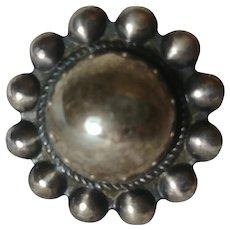Southwest sterling silver ring satellite domed face beaded edge