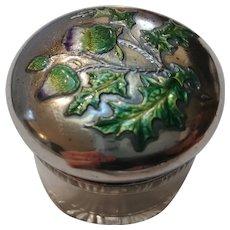 Krementz sterling silver top jar enamel thistle repousse