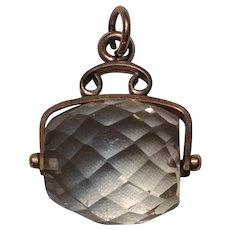 Antique rock crystal barrel watch fob charm pendant