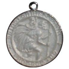 Sterling silver white enamel Saint Christopher charm medal medallion