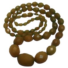 Early plastic necklace faceted graduated beads olive green