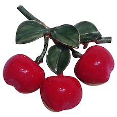 Original by Robert puffy cherries pin red enamel