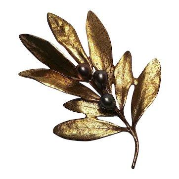 Olive branch pin fresh water pearls Metropolitan Museum of Art