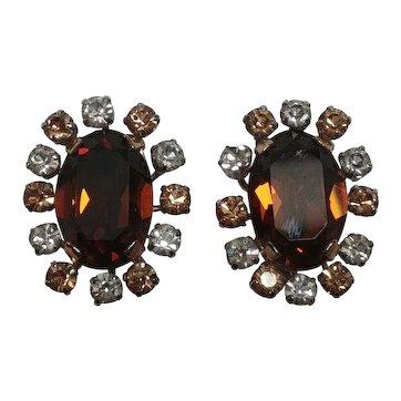 Schoffel Austria rhinestone clip earrings topaz brown