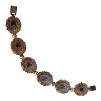 Italian mosaic bracelet floral plaques filigree frames